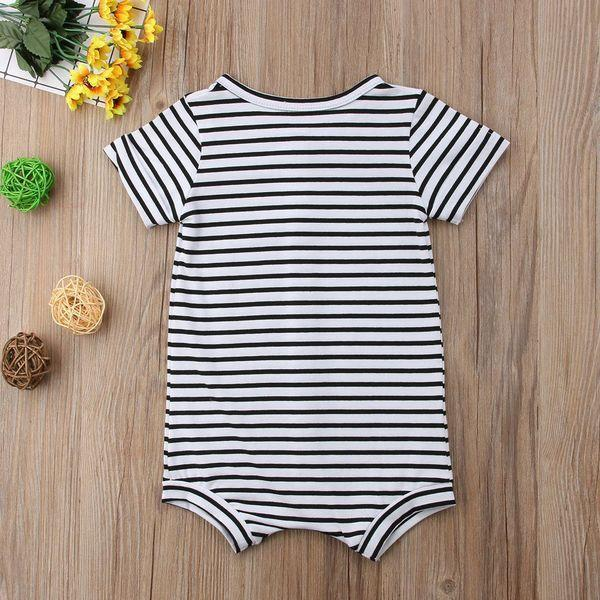 Striped Button Romper - 3-6 months