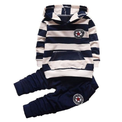 Striped Hoodies set for Boys - Black 2 / 18-24 months
