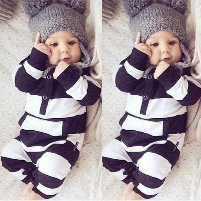 Striped Long Sleeve Rompers for Baby Unisex