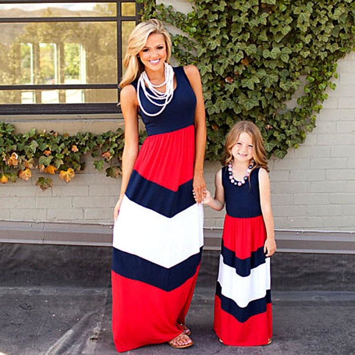 Striped Matching Dress for Mother and Daughter