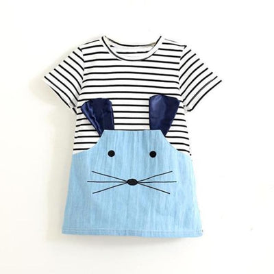Striped Mouse Patchwork Design Dress - short sleeve / 18-24 months
