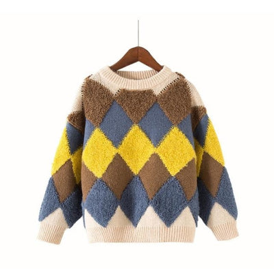Stylish Cool Knitwear Sweater for Kids Unisex - Beige / 12-13 years / China