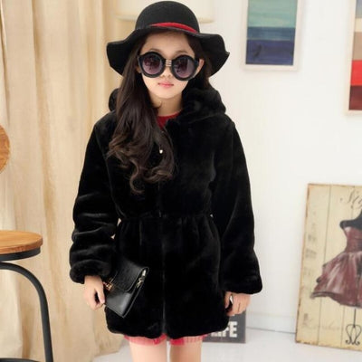 Stylish Faux Fur Winter Fleece Jacket for Girls - Black / 3-4 years