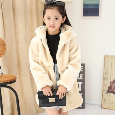 Stylish Faux Fur Winter Fleece Jacket for Girls - White / 3-4 years