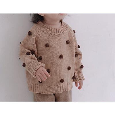 Stylish Knitted Pullover for Girls - Khaki / 9-12 months