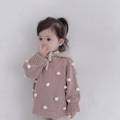 Stylish Knitted Pullover for Girls - Pink / 9-12 months