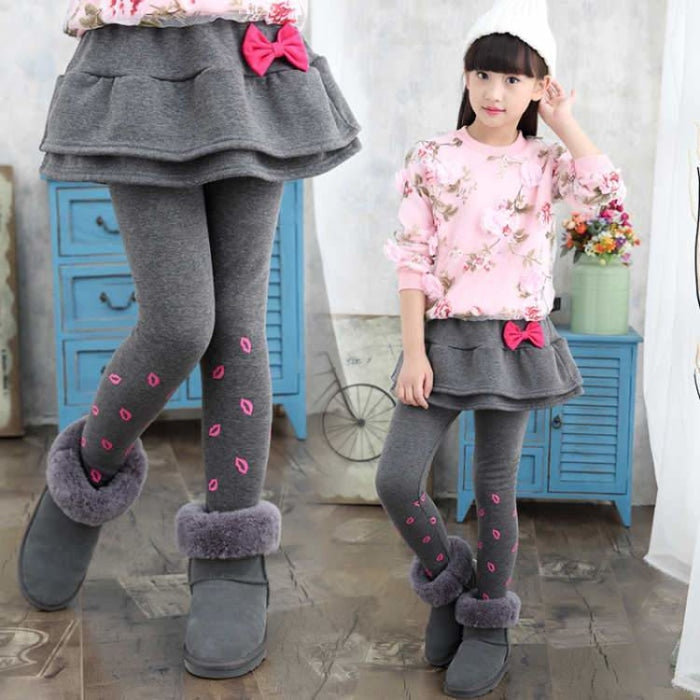 Sweet Bow Ruffled Winter trousers for Girls