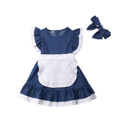 Sweet Denim Vintage Lace Dress with Headband for Girls - Blue / 6-7 years