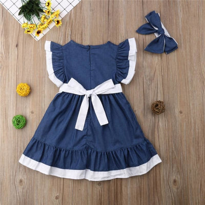 Sweet Denim Vintage Lace Dress with Headband for Girls
