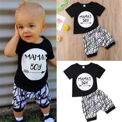 Sweet Printed Black T-shirt with White Striped Clothing Set For Boys