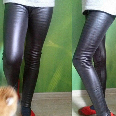 Thick Velvet Winter Faux PU Leather Leggings Pencil Pants for Girls