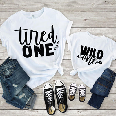 Tired Wild One Matching Tops Mom Daughter - 18-24 months Kid Shirt / White