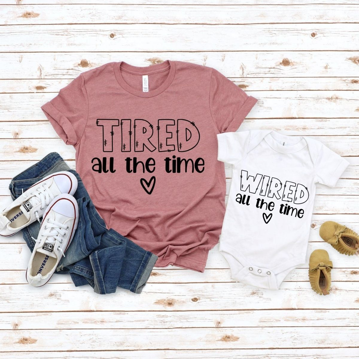 Tired Wired Matching Shirts Onesie for Mom son daughter - New Born Onesie / White