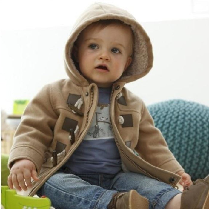 Toddler Baby boys Winter Warm Outerwear Thicken Hooded - Gray / 2-3 years