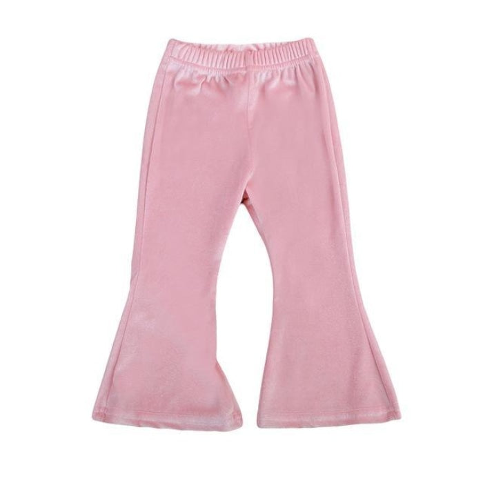 Toddler Baby Girls Bell Bottom Stretch Pants - Red / 18-24 months