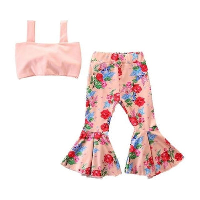 Toddler Baby Girls Sleeveless Vest Top + Floral Bell Bottoms Pants - P / 18-24 months / United States