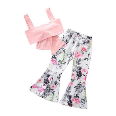 Toddler Baby Girls Sleeveless Vest Top + Floral Bell Bottoms Pants - W / 18-24 months / United States