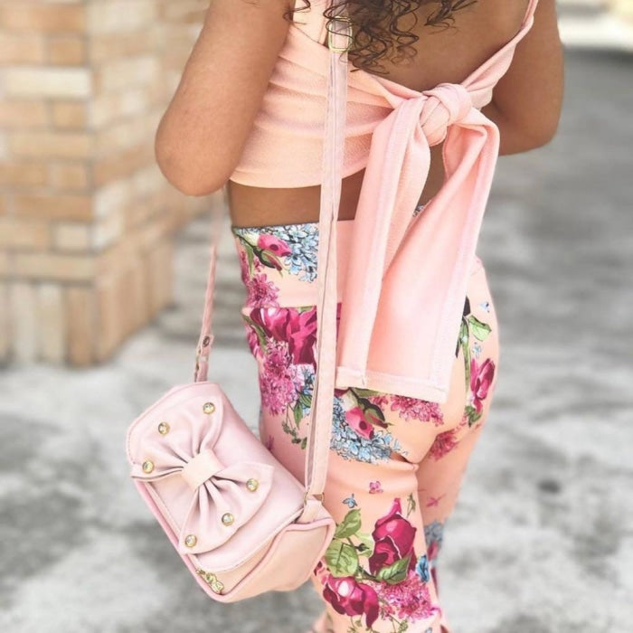 Toddler Baby Girls Sleeveless Vest Top + Floral Bell Bottoms Pants