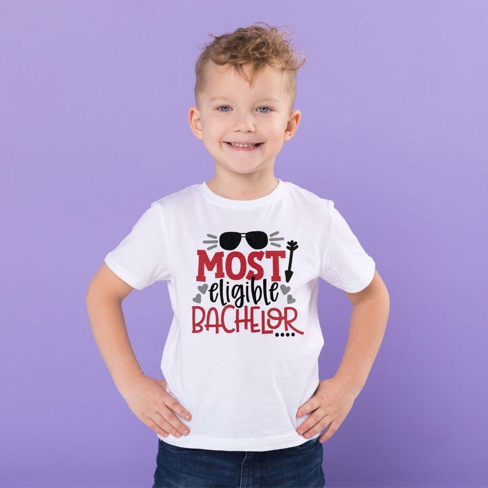 Toddler Boy Valentine T Shirt Eligible Bachelor