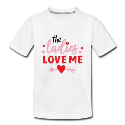 Toddler Boys Valentine T-Shirt Ladies Love - white