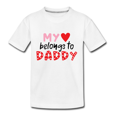 Toddler Girls Valentine T-Shirt Heart Daddy - white