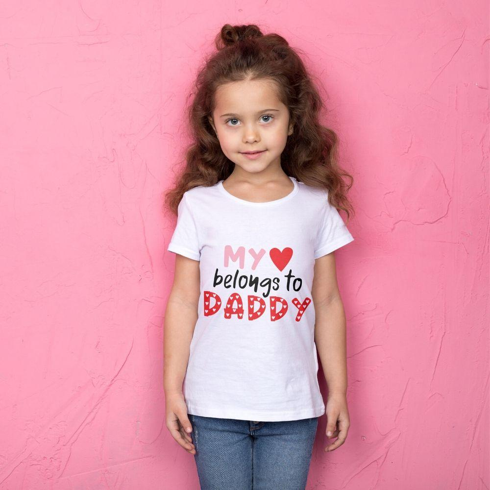 Toddler Girls Valentine T Shirt Heart Daddy