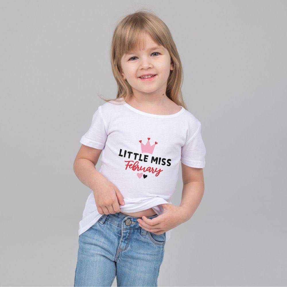 Toddler Girls Valentine T Shirt Little Miss February