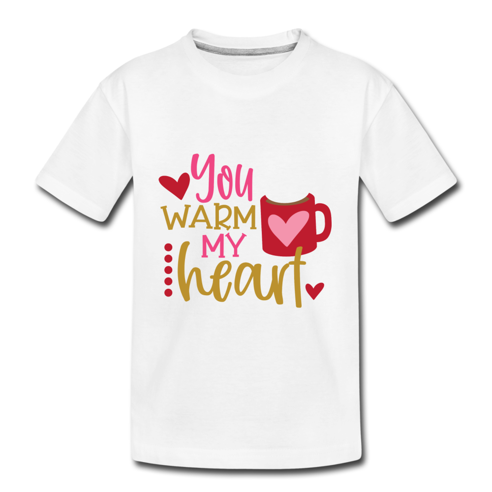 Toddler Kids Valentines T-shirt Warm my Heart - white