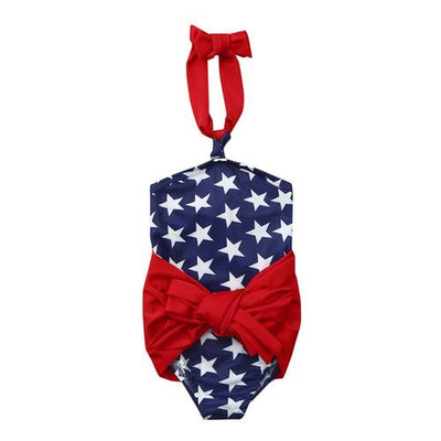 Toddler Swimsuit with Patriotic USA Stars - Blue / 12-18 months