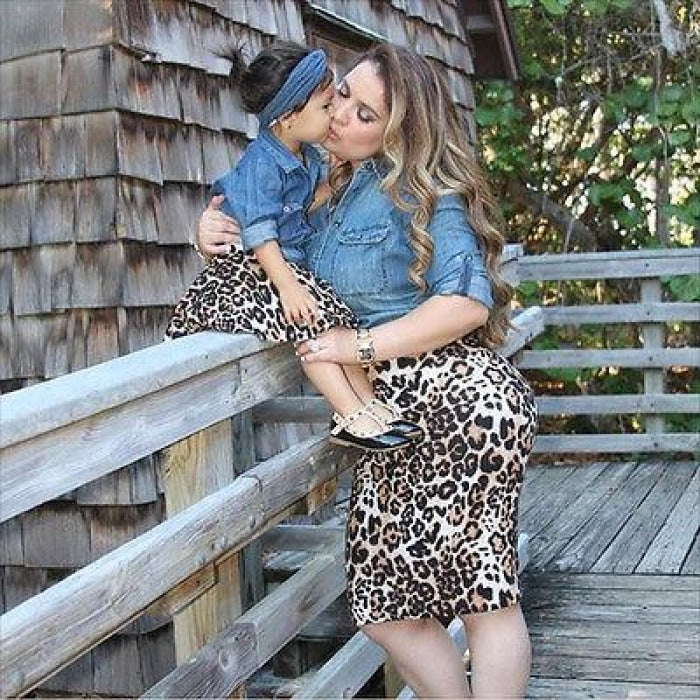 Trendy Animal Print Clothing Set for Mother and Baby