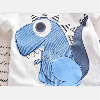 Trendy Blue Dinosaur Clothing Set Boys
