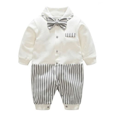 Trendy Party Striped Jumpsuit for Baby Boy - White + Black / 0-3 Months