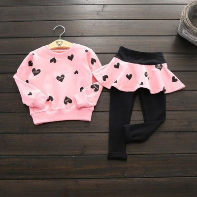 Trendy Pink 2 Pc Clothing Set for Girls - pink 1 / 18-24 months