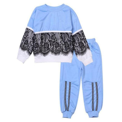 Trendy Pink 2 Pc Clothing Set for Girls - blue / 18-24 months