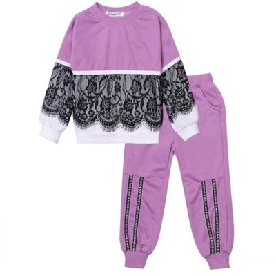 Trendy Pink 2 Pc Clothing Set for Girls - purple / 18-24 months