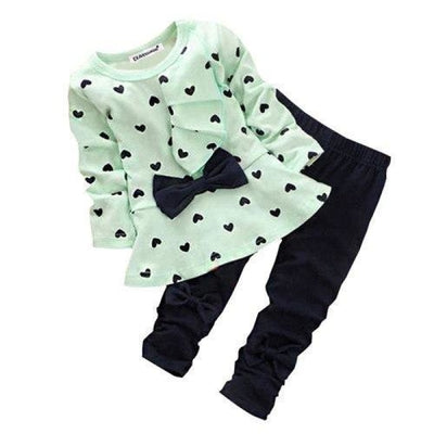 Trendy Pink 2 Pc Clothing Set for Girls - green / 12-18 months