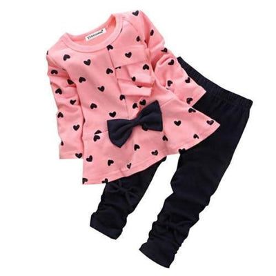 Trendy Pink 2 Pc Clothing Set for Girls - red 1 / 12-18 months