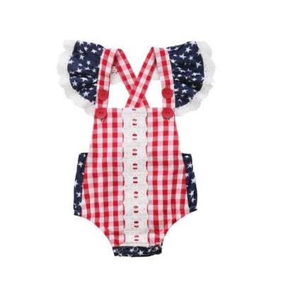 Trendy Star Striped Romper for Baby Girl - Red / 3-6 months / United States