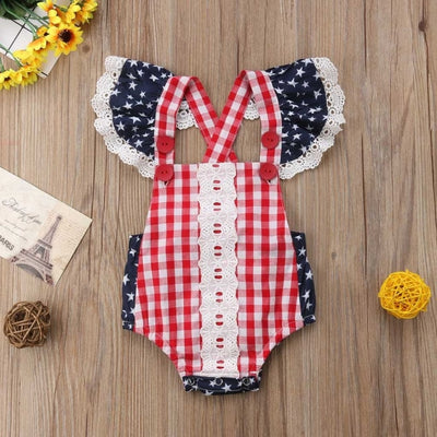 Trendy Star Striped Romper for Baby Girl
