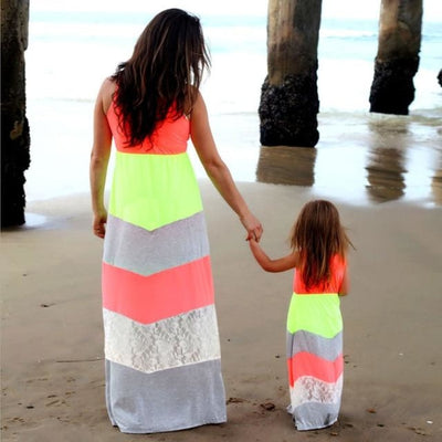 Trendy Striped Matching Dress for Mother and Daughter - Green/Red / Daughter 9-10 years