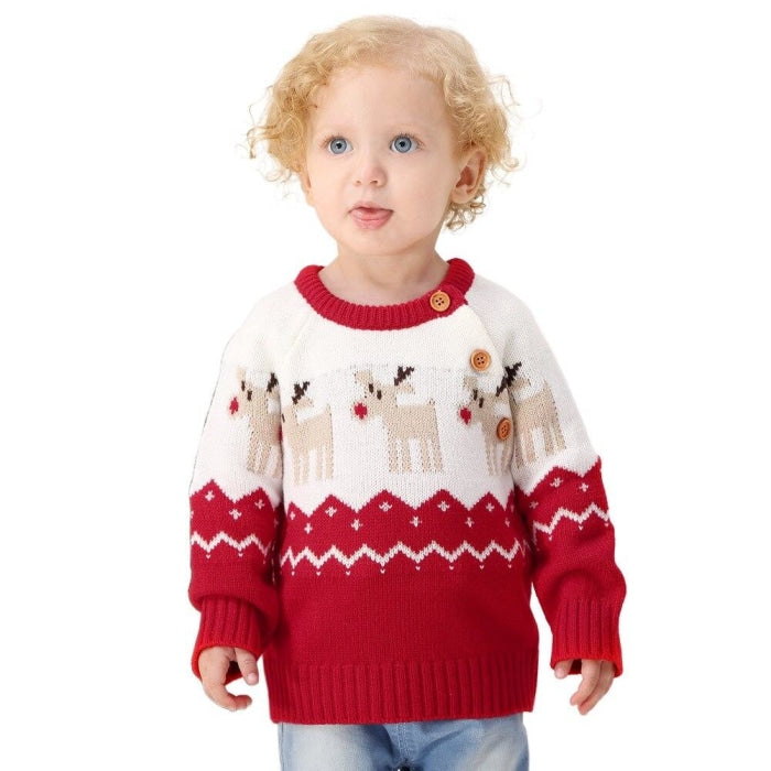 Ugly Christmas Reindeer Winter Sweater for Baby Boys
