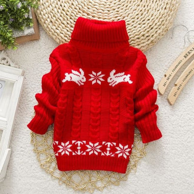 Ugly Christmas Turtleneck Rabbit Sweater for Kids Unisex - red / 4-5 years / United States