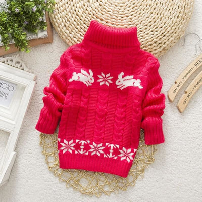 Ugly Christmas Turtleneck Rabbit Sweater for Kids Unisex