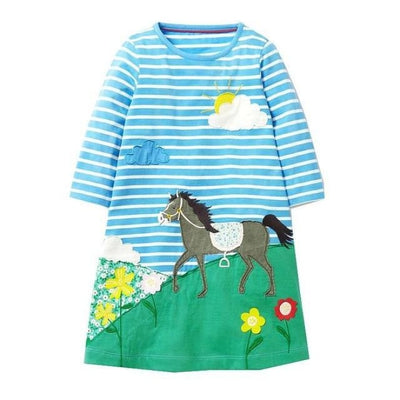 Unicorn Long Sleeve Dresses For Your Cute Little ones - Blue / 12-18 months