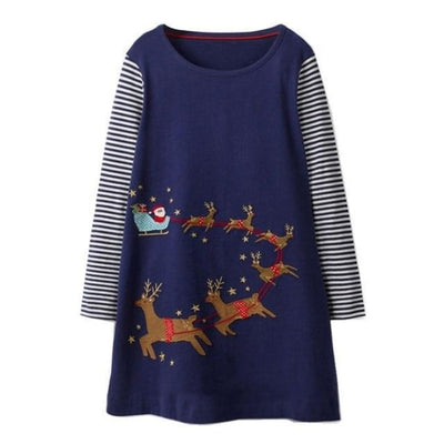 Unicorn Long Sleeve Dresses For Your Cute Little ones - Navy Blue 1 / 12-18 months