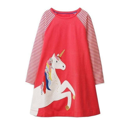 Unicorn Long Sleeve Dresses For Your Cute Little ones - Red 2 / 12-18 months