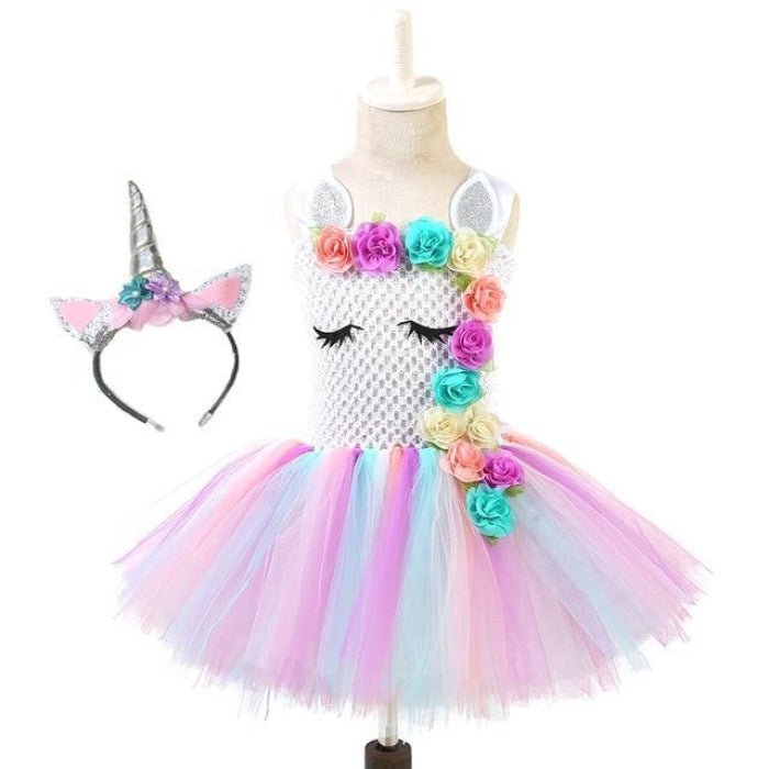 Unicorn Party Tutu costume Dress With Matching Headband for Girls
