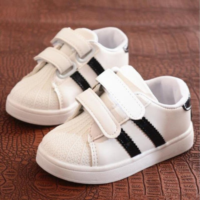 Unisex Baby Flat Sports Sneakers with Anti-Slip Sole - Black / 11
