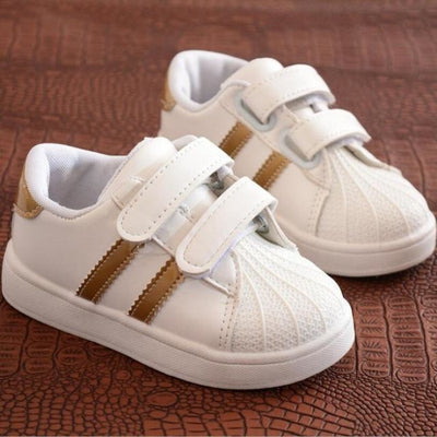 Unisex Baby Flat Sports Sneakers with Anti-Slip Sole - Gold / 11