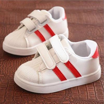 Unisex Baby Flat Sports Sneakers with Anti-Slip Sole - Red / 11